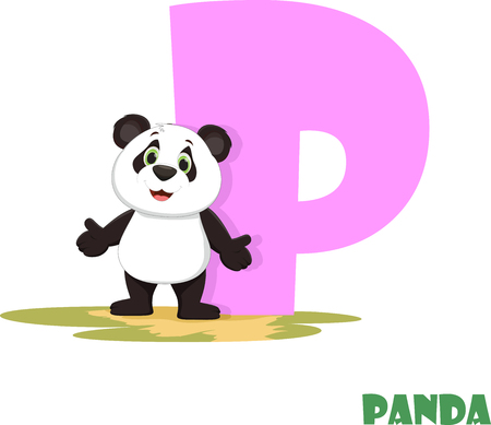 Cute Animal Zoo Alphabet. Letter P for panda