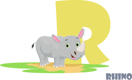 Cute Animal Zoo Alphabet. Letter R for Rhino