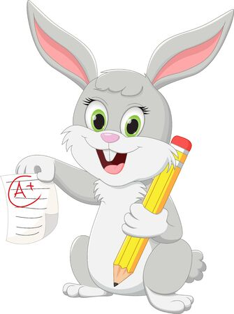Illustration of cute rabbit cartoon character with pencil and test paper