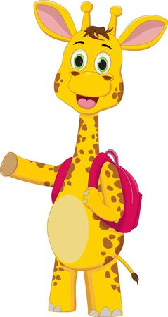 illustration of happy  giraffe cartoon character with backpack Ilustracja