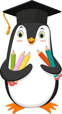 Penguin cartoon with graduation cap and colorful pencil