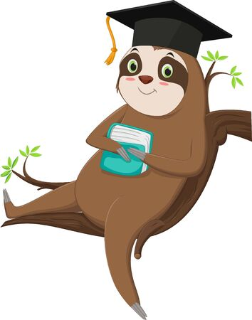 illustration of cute sloth cartoon character with graduation cap