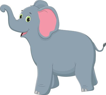 Cute elephant cartoon on white