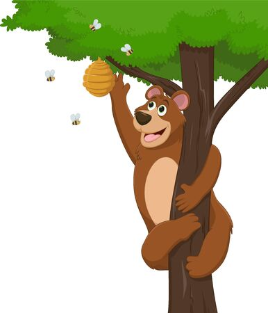 illustration funny brown bear holding honey