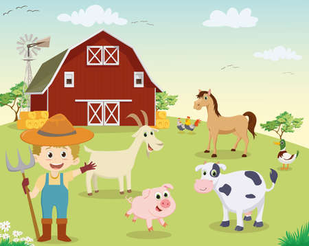 happy little farmer with animals at the farm Illustration