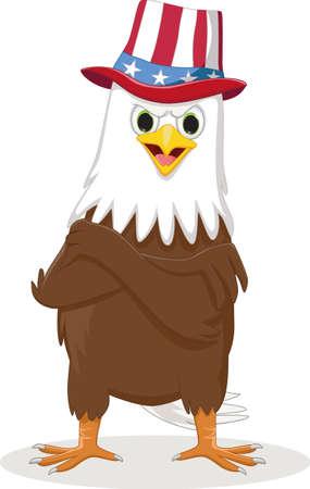 illustration of american Eagle in the patriotic hat Çizim