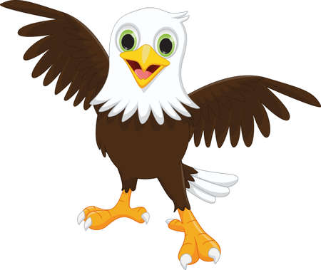 illustration of happy eagle cartoon