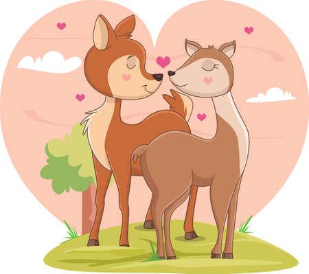 illustration of couple deer in love