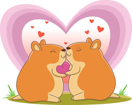 illustration of cute hamster couple in love