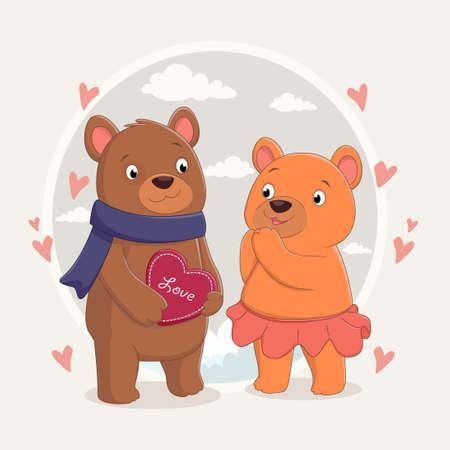 cute brown bear couple in love Ilustração