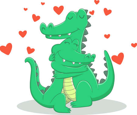 illustration of crocodile couple in love Çizim