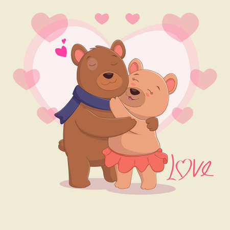 cute brown bear couple in love Illustration