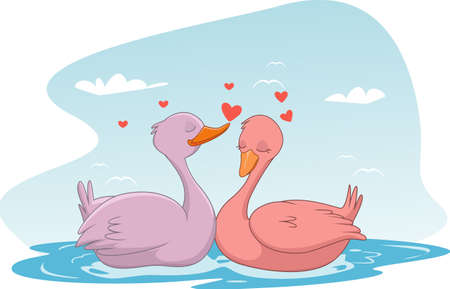 illustration of goose couple in love