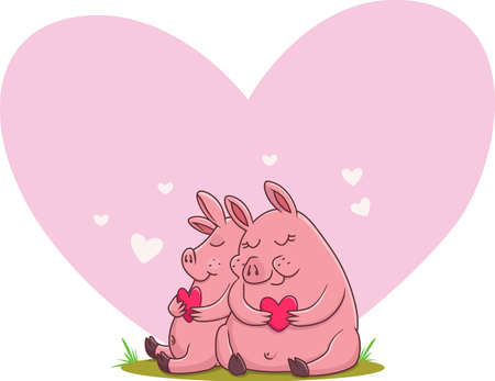 illustration of cute couple pig in love