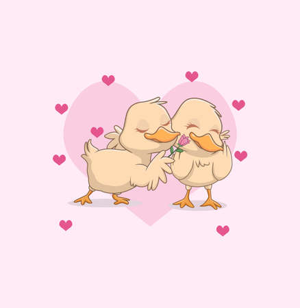 illustration of cute litte duck couple in love 向量圖像