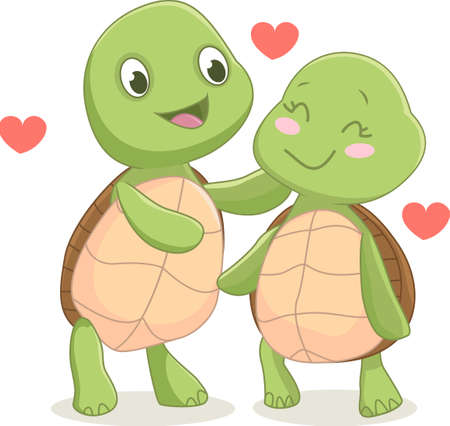 illustration of  turtle couple in love