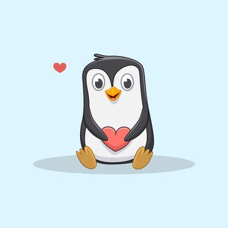 cute little penguin holding red heart