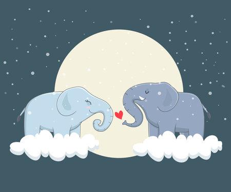 illustration of elephant couple in love Çizim