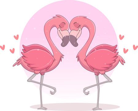 illustration of couple flamingo in love