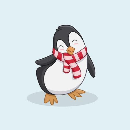 cute penguin cartoon with christmas scarf