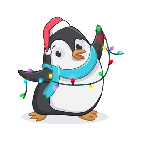 cute penguin with christmas decoration lights