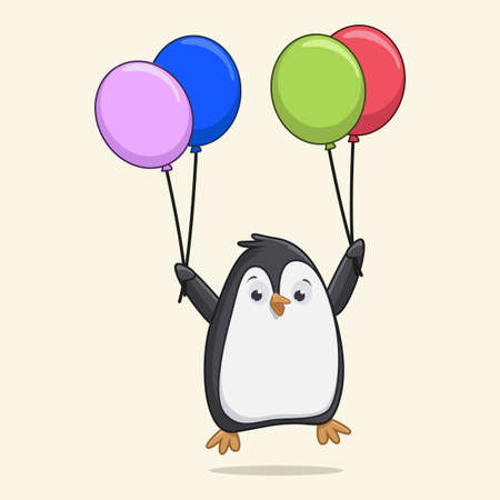 Cute penguin flying with balloons