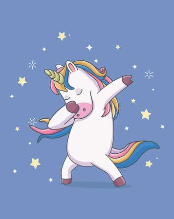 unicorn cute dabbing style with star. cartoon illustration Çizim