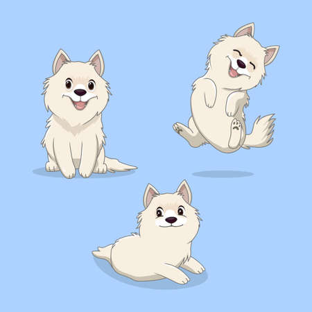 cute sdamoyed dog cartoon collection Çizim