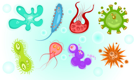 Icons of biological viruses and microbes. Illustration of bacteria and microbe organism allergen. Biology icons
