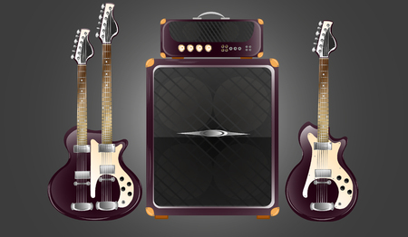 Two vintage purple electric guitars. Combo amplifier for guitars.