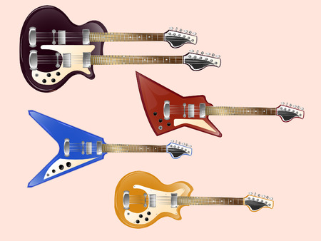 Set of vintage electric guitars
