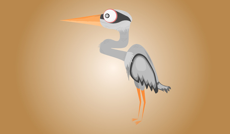 Funny cartoon gray heron