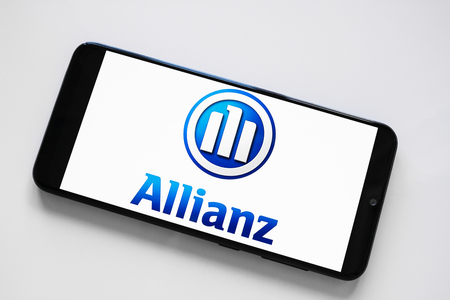 RUSSIA, KAZAN MAY 1, 2019: Financial and insurance group Allianz logo on a white background on the smartphone screen.