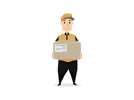 Delivery man with cardboard
