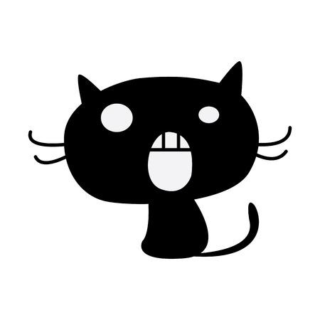 silueta de gato: Silhouette of black cat Vectores