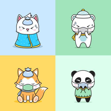 set of cute animal sick