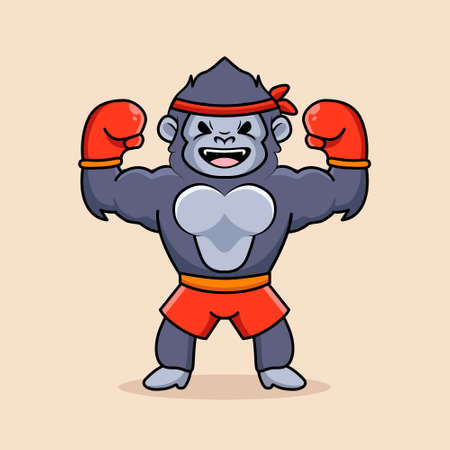 big strong boxing gorilla wear boxing gloves