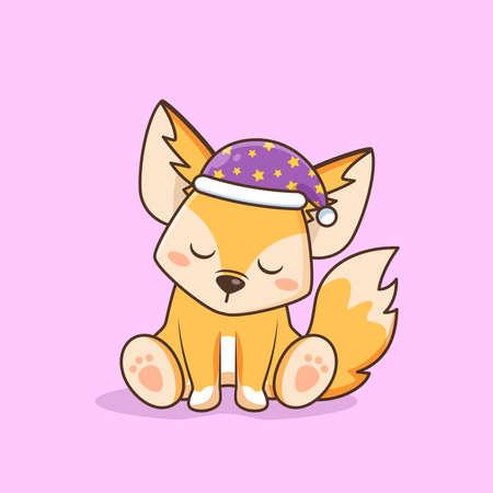 cute fennec fox sleeping wear hat Illusztráció