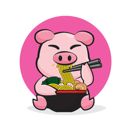 character pig eating a bowl of noodle