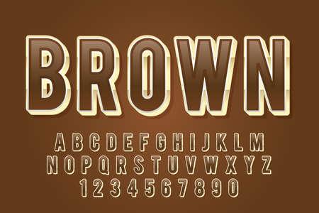 decorative brown Font and Alphabet