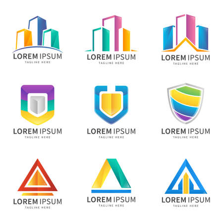 set of colorful abstract gradient logo for your company