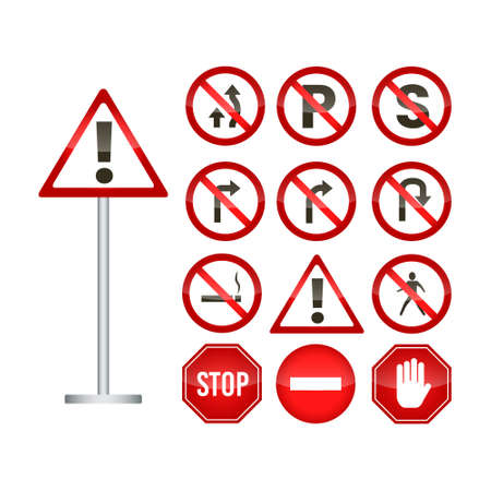 Set of red traffic sign isolated
