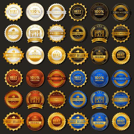 Golden vintage badge premium sale with four alternative colors Vecteurs