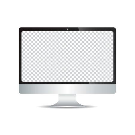 realistic vector of black monitor computer
