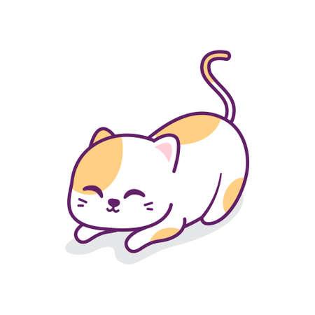 cute little orange cat stretching