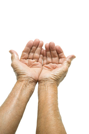 begging: Asian Senior womans hand begging isolated on white background
