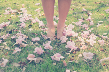 woman dress: vintage tone of : Male and female leg with barefoot in the garden with pink flower on the grounds