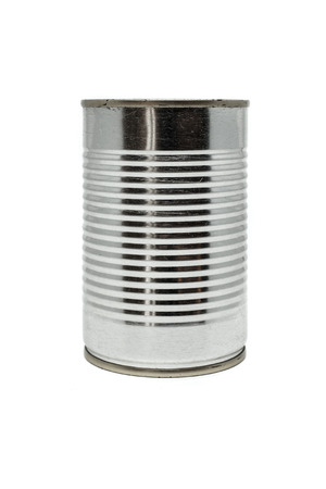 tinned goods: Close up of silver tin can isolated on a white background.
