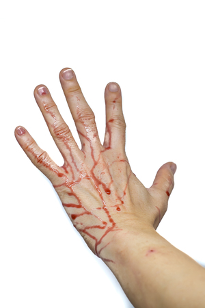 background csi: Bloody Hand isolated on a white background