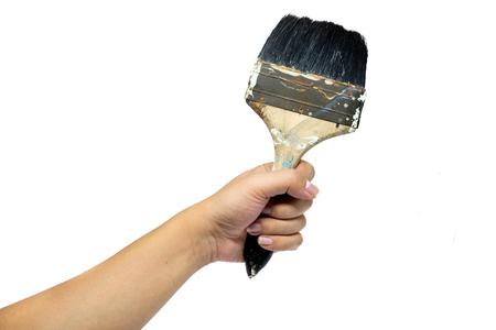 caulk: Hand with paint brush  isolated on a white background